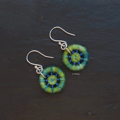 Dorset Button Earrings – Deep Greens & Blues