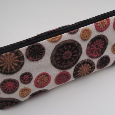 DPNs / Crochet Hook Bag – Orange, Gold & Brown with Black Zip