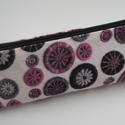 DPNs / Crochet Hook Bag – Pink, Black & Grey with Black Zip