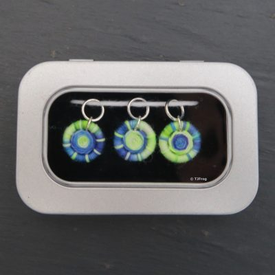 Dorset Button Stitch Markers – Ring – Blue, Turquoise, & Neon Green