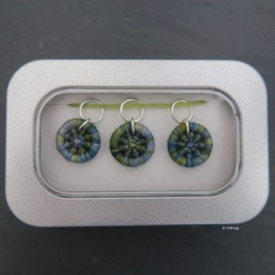 Dorset Button Stitch Markers – Ring – Sea Blues & Greens