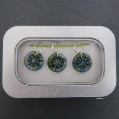 Dorset Button Stitch Markers – Ring – Sea Blues & Greens