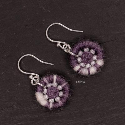 Dorset Button Earrings – Purple & White