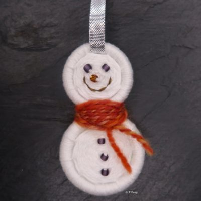 Decoration – Snowman with silver ribbon