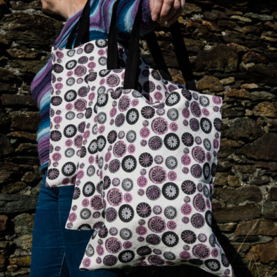 Tote Bag – Pink, Grey & Black