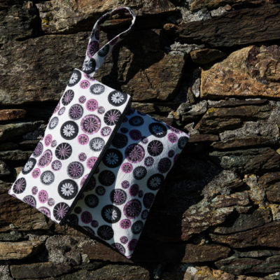 Knitting Project Clutch Bag – Pink, Black & Grey