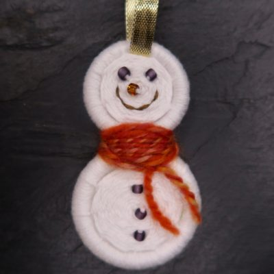 Decoration – Snowman with gold ribbon