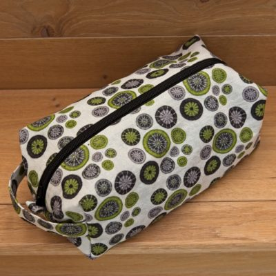Large Zipped Project Bag with handle – Lime Green, Grey & Black