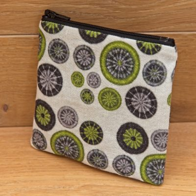 Notions Bag – Lime Green, Grey & Black with Black Zip
