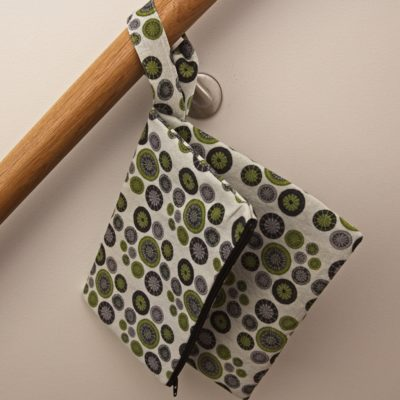 Knitting Project Clutch Bag – Lime Green, Grey & Black