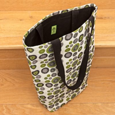 Knitting Bag, Shopper Style – Lime Green, Grey & Black
