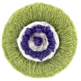 Dorset Button Brooch Kit – green, cream, purple