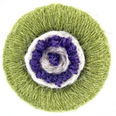 Dorset Button Brooch Kit – green, cream, purple