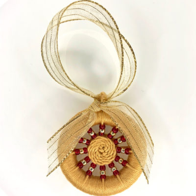 Decoration – Gold with gold & red beads & gold ribbon
