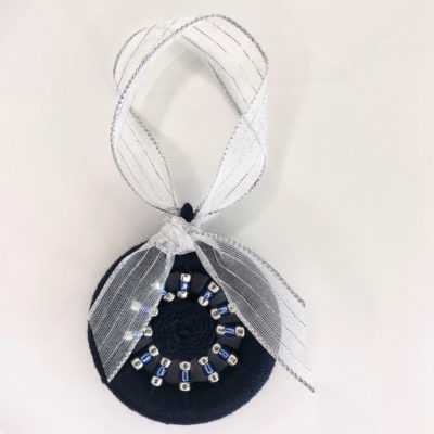 Decoration – Navy blue with blue & silver beads & silver ribbon